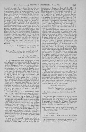 Tome 70 : Du 30 juillet au 9 août 1793 - page 421