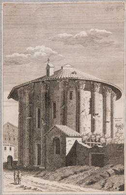 Tempio di Vesta, veduta d'insieme del lato della porta