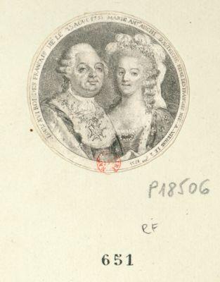 Louis XVI Roi des Français né le 23 aout 1753 [i.e. 1754] Marie Ant.e archi. d'Autriche Reine des Français née a Vienne le 2 O.bre [i.e. 9.bre] 1755 : [estampe]