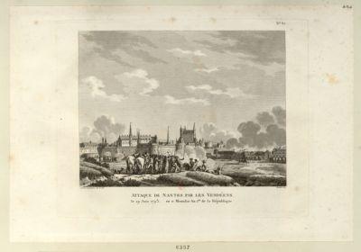 Attaque de Nantes par les Vendéens le 29 juin <em>1793</em> ou 11 messidor an I.er et la République : [estampe]