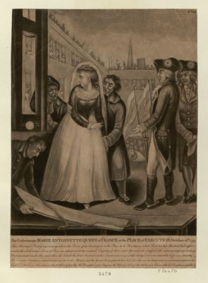 The  Unfortunate Marie Antoinette Queen of France at the place of execution. October 16th 1793 this beautiful princess was conveyed from the prison of the Conciergerie to the Place de la Revolution, (where Louis her late husband had suffered) amidst the whole armed force of Paris... : [estampe]
