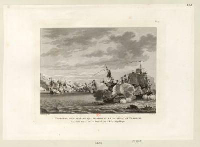 Héroïsme des marins qui montoient le vaisseau Le Vengeur le 3 juin 1794, <em>ou</em> 13 prairial an 2 de la Republique : [estampe]