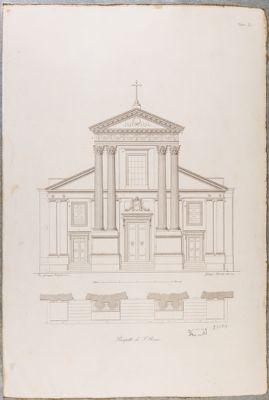 Chiesa di San Rocco, facciata con relativa pianta