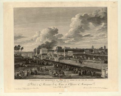 Confédération des départemens du nord de la Somme et du Pas de Calais faite <em>à</em> Lille le 14 juillet 1790 [i.e. 6 juin 1790] dédiée <em>à</em> messieurs le Maire et officiers municipaux de la ville de Lille... : [estampe]