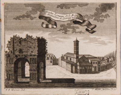 Velabro. Arco degli Argentieri, chiesa e convento di S. Giorgio visti da sud