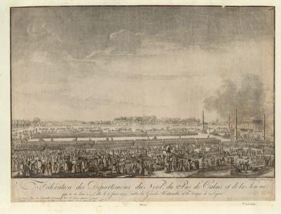 Féderation des departemens du Nord, du Pas de Calais et de la Somme qui a eu lieu à Lille le 6 juin 1790, entre les Gardes nationales et les troupes de ligne : [estampe]