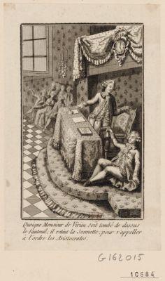 Quoique Monsieur de Virieu soit tombé de dessus le fauteuil ; il retint la sonnette pour r'appeler à l'ordre les aristocrates [estampe]
