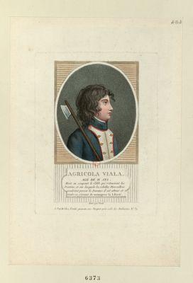 Agricola Viala agé de 11 ans, mort en coupant le câble qui retenoient les pontons, et sur lesquels les rebelles marseillois vouloient passer la Durance. Il est atteint et tombe en s'écriant, je meur pour la liberté : [estampe]