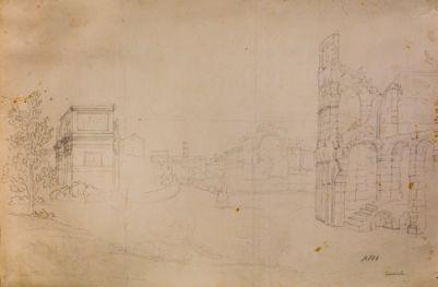 Tempio di Venere e Roma, veduta tra l' arco di Costantino e il Colosseo