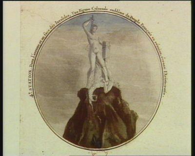 4.e station dans l'avenue et en face des Invalides, une figure colossale emblême du Peuple français en réunion, écrase l'Aristocratie : [estampe]