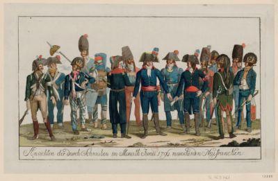 Ansichten der durch Schwaben im Monath Junii 1796 marschirden Neufrancken [estampe]
