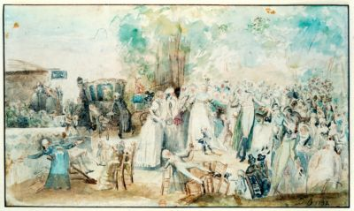 [La  fête des Loges dans la forêt de Saint-Germain] [dessin]