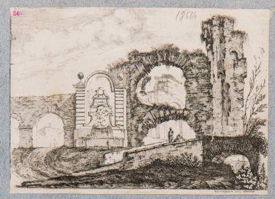Acquedotto dell'Acqua Claudia con fontana di Clemente XII a Porta Furba