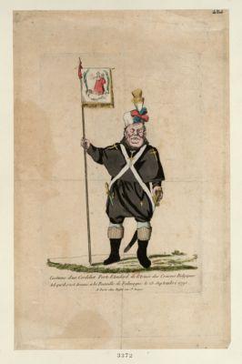 Costume d'un cordelier porte etendard de l'armée des croisees belgiques tel qu'il s'est trouvé a la bataille de Falmagne le 28 septembre 1790 : [estampe]