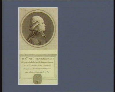 Jos.ph Nic.as de Champeaux vic.e g.n.al, de Rodez curé de Montigny le Bretonneux né à la Chaume le 24 juin 1753 député de Montfort Lamaury &<em>c</em> aux Etats généraux de 1789 : [estampe]