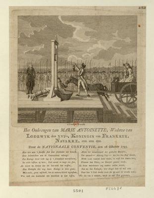 Het Ombrengen van Marie Antoinette, Weduwe van Lodewyk den XVI.den, Koningin van Frankryk, Navarre, enz. enz. enz. Door de Nationaale Conventie, den <em>16</em> <em>October</em> <em>1793</em> [estampe]