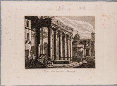 Tempio di Antonino e Faustina, scorcio del colonnato del pronao visto da ponente