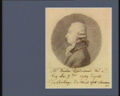 M. Nicolas Hauducoeur né à Vicq en 9.bre 1729 député du baillage de Montfort-Lamaury : [dessin]