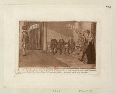 N.o 1 . Le roi au milieu de son conseil, s'apercoit qu'il n'avait plus sa tabatiere, après avoir fouillé inutilement dans ses poches [estampe]