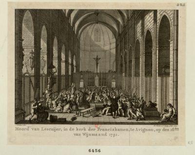 Moord van Lescuijer, in de Kerk der Franciskaanen, te <em>Avignon</em> [estampe]