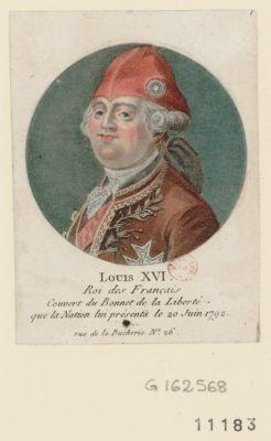 Louis XVI Roi des français couvert du bonnet de la liberté que la <em>nation</em> lui présentà le 20 juin 1792 : [estampe]
