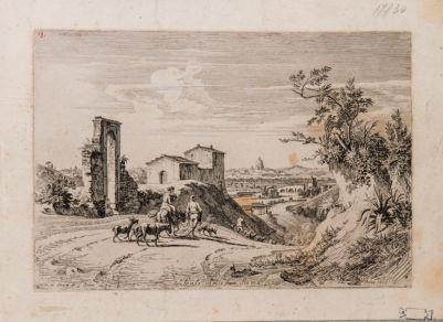Ponte Milvio, ampia vista della campagna sulla riva destra con sfondo del ponte e di S. Pietro