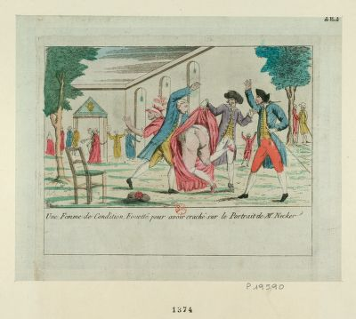 Une Femme de condition, fouetté pour avoir craché sur le portrait de Mr Necker [estampe]