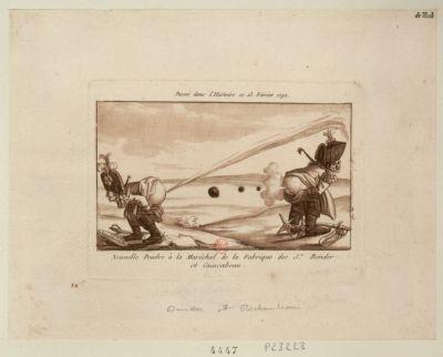 Nouvelle poudre à la maréchal de la fabrique des srs Bender et Cacacabeau passé dans l'histoire ce 13 fevrier <em>1792</em> : [estampe]