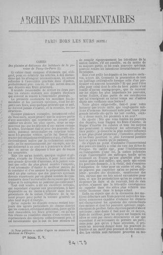 Tome 5 : 1789 – États généraux. Suite des cahiers des sénéchaussées et baillages [Paris (hors les murs) (suite) - Toulon] - page 1