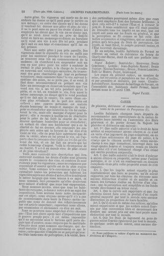 Tome 5 : 1789 – États généraux. Suite des cahiers des sénéchaussées et baillages [Paris (hors les murs) (suite) - Toulon] - page 10