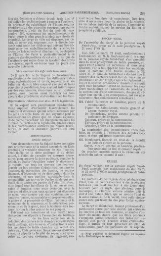 Tome 5 : 1789 – États généraux. Suite des cahiers des sénéchaussées et baillages [Paris (hors les murs) (suite) - Toulon] - page 269