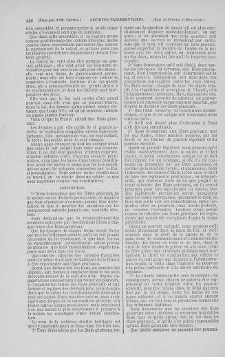 Tome 5 : 1789 – États généraux. Suite des cahiers des sénéchaussées et baillages [Paris (hors les murs) (suite) - Toulon] - page 448