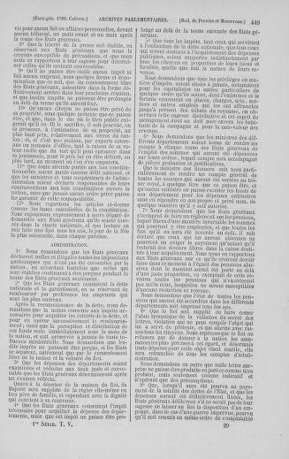 Tome 5 : 1789 – États généraux. Suite des cahiers des sénéchaussées et baillages [Paris (hors les murs) (suite) - Toulon] - page 449