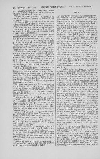 Tome 5 : 1789 – États généraux. Suite des cahiers des sénéchaussées et baillages [Paris (hors les murs) (suite) - Toulon] - page 450
