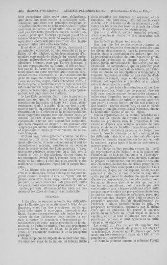 Tome 5 : 1789 – États généraux. Suite des cahiers des sénéchaussées et baillages [Paris (hors les murs) (suite) - Toulon] - page 464