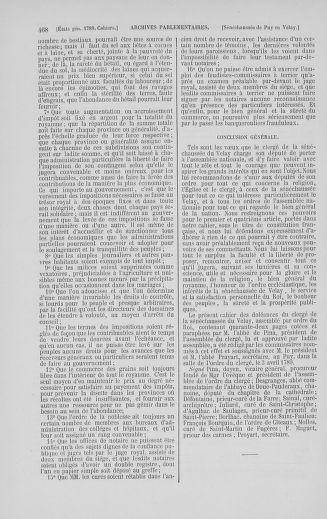 Tome 5 : 1789 – États généraux. Suite des cahiers des sénéchaussées et baillages [Paris (hors les murs) (suite) - Toulon] - page 468