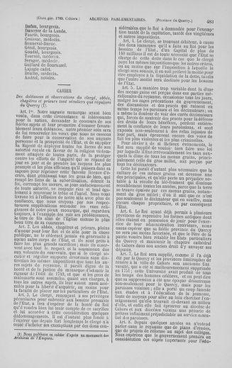 Tome 5 : 1789 – États généraux. Suite des cahiers des sénéchaussées et baillages [Paris (hors les murs) (suite) - Toulon] - page 483
