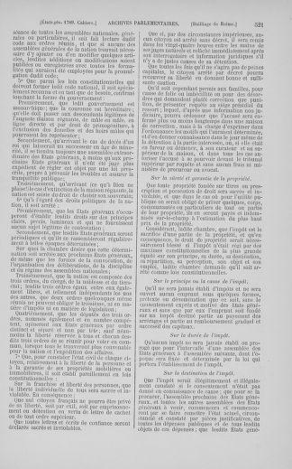 Tome 5 : 1789 – États généraux. Suite des cahiers des sénéchaussées et baillages [Paris (hors les murs) (suite) - Toulon] - page 521