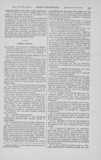 Tome 5 : 1789 – États généraux. Suite des cahiers des sénéchaussées et baillages [Paris (hors les murs) (suite) - Toulon] - page 559