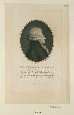 Ho.ré Ga.el Riquetti Mirabeau né <em>à</em> Paris en 1749 député <em>à</em> l'Assemblée nationale, en 1789, elu président le 29 janvier 1791, mort le 2 avril même année et déposé au Panthéon : [estampe]