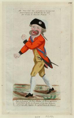 Rage et désespoir du petit électeur de Treves apprenant la resolution du roi des Français de lui faire la guerre s'il protège plus longtems les rassemblements des émigrés [estampe]