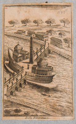 Isola Tiberina, ricostruzione immaginaria degli edifici nell'età classica