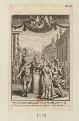 Honneurs rendus a la mémoire de Voltaire le jour de la premiere représentation de Brutus [estampe]