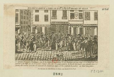 Malheur arrivé à Paris le 21 8.bre 1789 a 8 heures du matin le nommé François, boulanger, rue de la Juiverie, fut enlevé de sa boutique, par une foule de séditieux qui l'ont conduit à la ville, où on l'a accusé d'avoir chez lui des pains pourris... : [estampe]