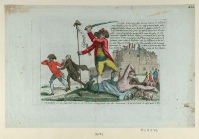 Destruction de la Bastille après la victoire remporté sur les ennemis de la liberté le 14 juil.et 1789 Bastille. C'étoit autrefois le nom de tous les chateaux fortifiés... : [estampe]