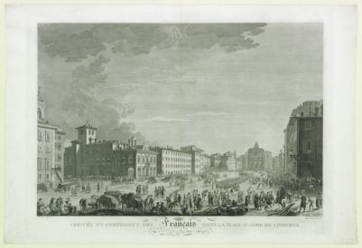 Arrivée et campement des Français dans la place-d'arme de Livourne le 27 juin 1796 : [estampe]
