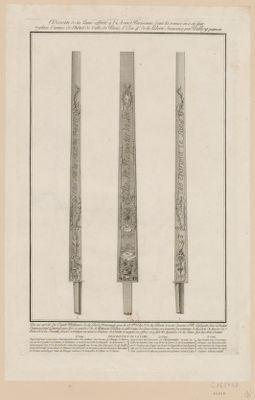Dessin de la lame offerte à l'armée parisienne, dont la remise en a été faite place d'armes de l'Hôtel de ville de Paris, l'an 4.e de la liberté française par Palloy, patriote [estampe]