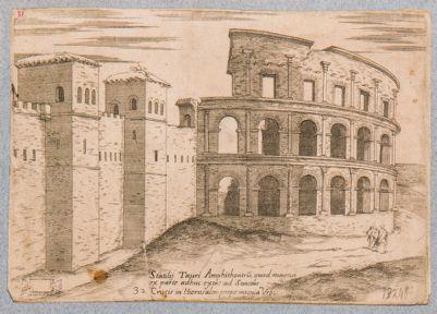 Statilij Tauri Amphitheatru quod magna ex parte adhuc extat ad Sanctae Crucis in Hierusalem propemoenia Urbis