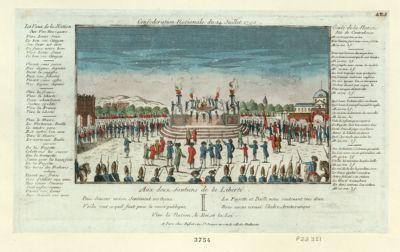Confederation nationale du 14 juillet 1790 aux deux soutiens <em>de</em> <em>la</em> liberté, Paix douceur union sentiment vertueux Voila tout ce qu'il faut pour <em>la</em> cause publique <em>La</em> Fayette et Bailli nous soutenant tous deux Nous avons ecrasé l'hidre aristocratique. Vive <em>la</em> nation, le Roi et <em>la</em> loi... : [estampe]
