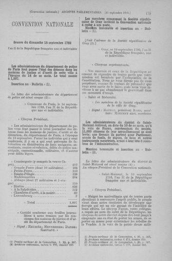Tome 74 : Du 12 au 22 septembre 1793 - page 179